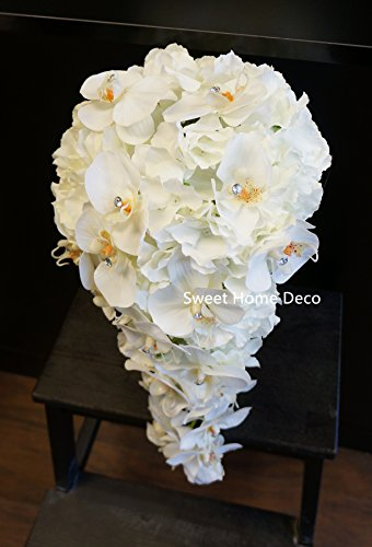 Sweet Home Deco Gel Coated Real Touch Phanaenopsis Orchid Hydrangea Diamond Wedding Bouquet Package Bridal Bouquet Bridesmaid Bouquet Boutonniere (White/Black-Extra Large Cascading Bridal Bouquet)