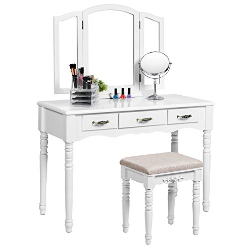 SONGMICS Vanity Set with Tri folding Mirror 3 Drawers Make-up Dressing Table Cushioned Stool Easy Assembly White URDT18W by SONGMICS