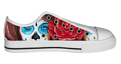 Pustende Antiskid Lave Topp Lerret Sko Med Dagen Av Døde Design For Kvinner Damer Shoes20