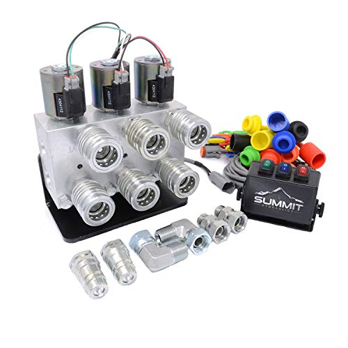 Summit Hydraulics Hydraulic Multiplier Kit, 3 Circuit Selector Valve Including Couplers and Switch Box Control