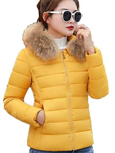 Zipper Faux Down Fur Women's Puffer Collar Short Quilted Thicken Coat Warm Jacket Yellow EKU wIfqUw