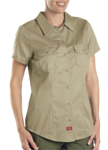 Dickies Women's Short-Sleeve Work Shirt, Khaki, Small ()