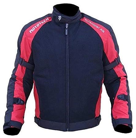 MOTOTECH MT0039_Rd_XXL Nylon-Mesh Armoured Riding Scrambler AIR Motorcycle Jacket, 2XL (Black, Red)