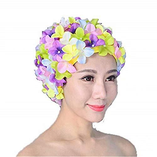 (Heyuni.Floral Petal Swim Cap for Women - Retro Style Vintage Bathing Cap Swimming Hat for Long and Short Hair)