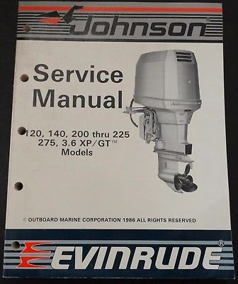 1987 OMC EVINRUDE & JOHNSON 120 thru 275 HP SERVICE MANUAL PN 507619 -