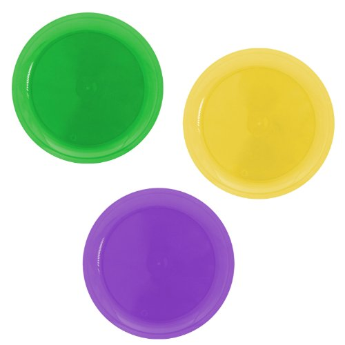 Party Essentials 20 Count Hard Plastic Round Party/Luncheon Plates, 9-Inch, Mardi Gras Mix ()