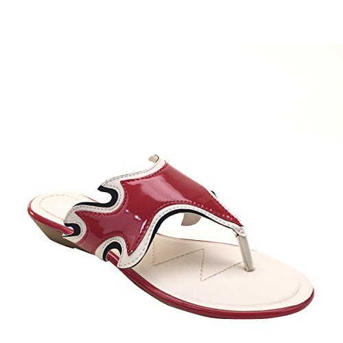 Nouveau Brieten Womens Cut-out Thong Bas Wedge Filp Flop Confort Sandales Rouge