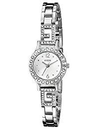 GUESS Women's U0411L1 Silver-Tone Jewelry Inspired Watch with Self-Adjustable Bracelet