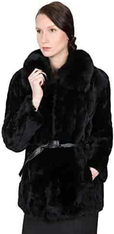 8ca431a3e OBURLA Women's Real Rex Rabbit Fur Coat | 100% Fox Fur Collar and Genuine  Leather