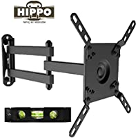 HIPPO HP200C TV Wall Mount Bracket for 10-42 LED LCD Plasma Flat Screen TVs up to 44 lbs VESA 200x200 mm, 360 Degree Rotation, Full Motion Swivel Articulating 14.8 Extension Arm, Bubble Level