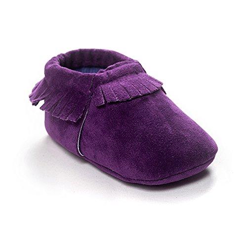 (Kuner Baby Boys Girls Tassel Soft Soled Non-Slip Crib Shoes Moccasins First Walkers (12cm(6-12months), Purple-2))