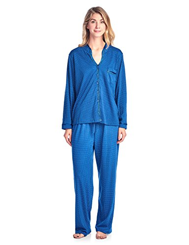Casual Nights Women's Long Sleeve Floral Lace Trim Pajama Set - Blue - X-Large