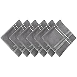 "DII 100% Cotton, Oversized Basic Everyday 20x20"" Napkin Set of 6, Gray Chambray French Stripe"