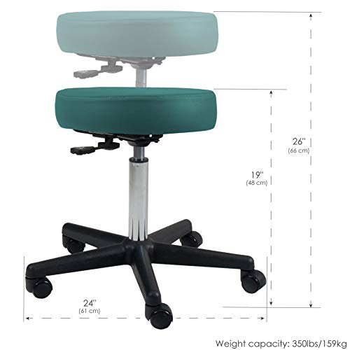 EARTHLITE Pneumatic Massage Salon Drafting Stool – No Leaking (vs. Hydraulic), Adjustable, Rolling, CFC-Free / Medical Spa Facial Chair
