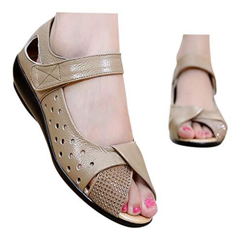 Veodhekai Womens Flats Shoes Embossed Fish Mouth Single Sandals Wedding Party Shoes Sweet Khaki