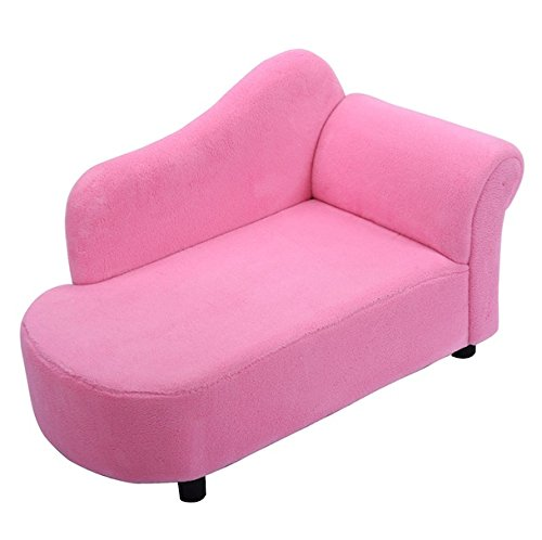 Pink Princess Style Kids Sofa Armchair Armrest Chair Couch Lounge Sleeper Coral Fleece Children Toddler Gift Bedroom Living Room Furniture Strong Wooden Frame