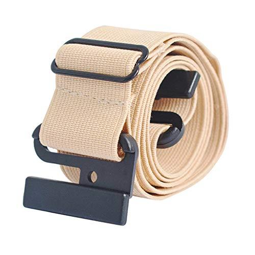 BCDshop Women Men Belt Invisible Adjustable Stretch No Show Slim Web Belts Flat Buckle Non-Slip Backing (Beige)