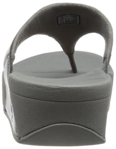 Fitflop Lulu - Sandalias de dedo de cuero para mujer Gris