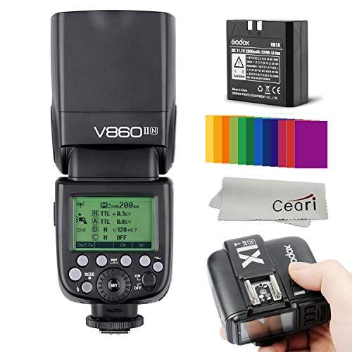 Godox Ving V860IIN TTL 2.4G Wireless Speedlite with X1T-N Transmitter Kits, 1/8000s HSS, 1.5s Recycle Time, 650 Full Power Flash Compatible Nikon D810 D800 D750 D700 D610 D5200 D5100 DSLR Camera