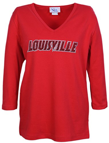 Nitro USA NCAA Louisville Cardinals Women's V-Neck 3/4 Sleeve Top with Rhinestone, Red, Small