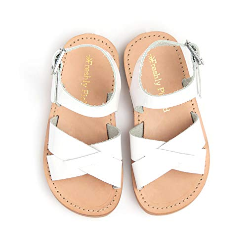 Freshly Picked - Saybrook Little Girl Boy Leather Sandals - Size 9 White Patent