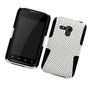 LF 4 in 1 Bundle Accessory - Hybrid Dual Layer Mesh Case, Lf Stylus Pen, Lf Screen Protector & Wiper for (Boost Mobil) Samsung Galaxy Rush M830 (Mesh Black / -