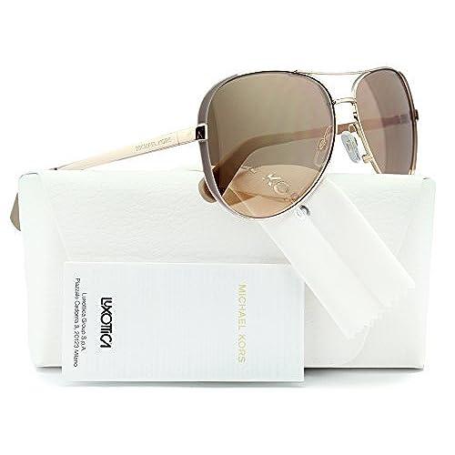 Michael Kors MK5004 Chelsea Aviator Sunglasses Rose Gold w/Gold Mirror  (1017/R1) MK 5004 1017R1 59mm Authentic