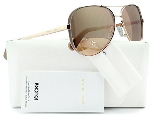 Michael Kors MK5004 Chelsea Aviator Sunglasses Rose Gold w/Gold Mirror (1017/R1) MK 5004 1017R1 59mm - By Kors Sunglasses Michael