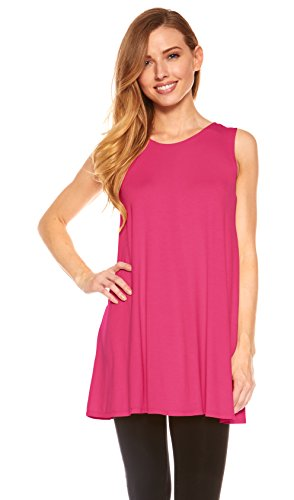 Red Hanger Womens Sleeveless A-Line Tank Top Tunic, Solid Basic Long Flowy Top (Hot Pink-M)