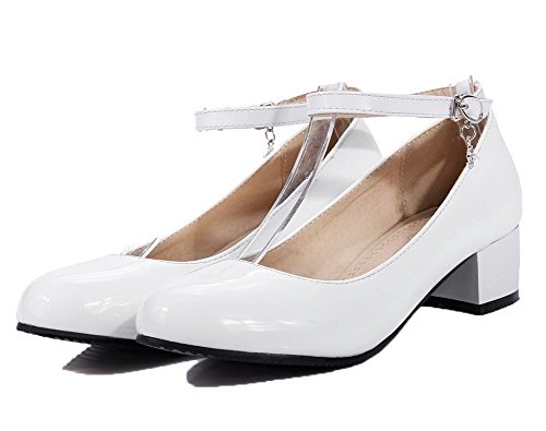 Solid Shoes Toe Buckle Round White Court Heels Leather Patent WeenFashion Women's Low Yq8wZgv