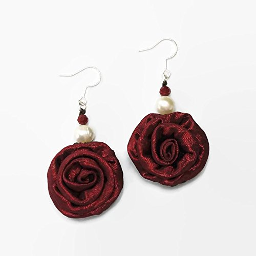 Maroon Silk Flower Earring for Girls & Women Decorations With Fresh Water Peal (Famous Duo Costumes)