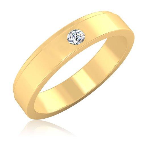 0,10 ct redonda natural diamond anillos de boda para hombre 14 K oro amarillo
