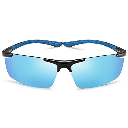Cheap Sports Polarized Sunglasses-UV400 Anti Glare Lenses-Metal Half Frame, Men Women Cycling Fishing Baseball Sun Glasses (Ice blue)