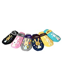CHUNG Toddelr Girls Anti Slip Low Cut No Show Cotton Socks Non Skid with Grip 6pk