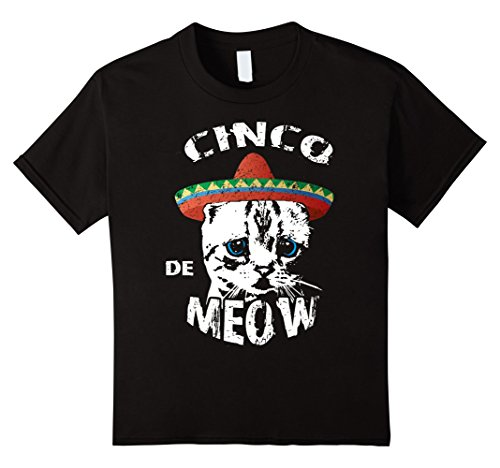 [unisex-child Cinco De Meow Shirt Funny Cinco De Mayo Cat Pun T-Shirt 4 Black] (Hit Girl Costume Ideas)