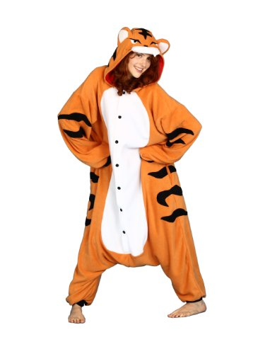 Bcozy Tiger Onesie, Orange/Black/Red, One Size (Tiger Costume Adults)