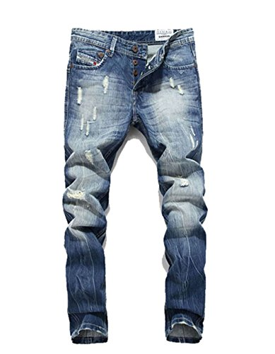 Eyer New Classic Men Stylish Designed Straight Slim Fit Trousers Casual Jean Pants