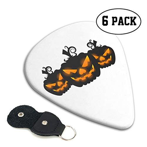 Nice Music Halloween Pumpkin Jack-o-Lanterns Ultra Thin 0.46 Med 0.71 Thick 0.96mm 4 Pieces Each Base Prime Celluloid Ivory Jazz Mandolin Bass Ukelele Plectrum Guitar Pick Pouch Display]()