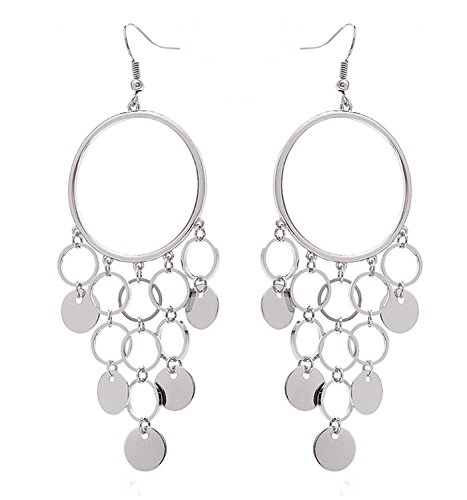 HY Comp Geometric Circle Chandelier Drop Earrings Boho Long Sequins Tassel Dangle Earrings Hoop Earrings (silver-tone) ()