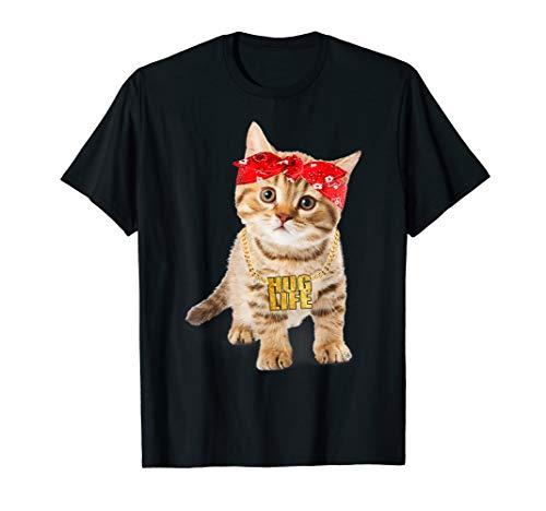 Hug Thug Gangster Life Gold Chain Cat Shirt Gangsta Cat Tee