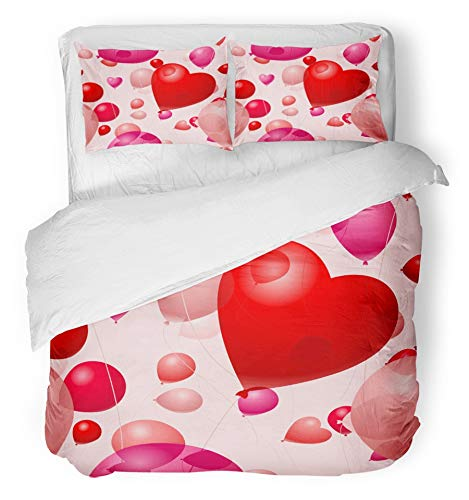 Emvency 3 Piece Duvet Cover Set Brushed Microfiber Fabric Breathable Pink Anniversary Valentines Day Balloons Red Celebration Desire Favor Heart Bedding Set with 2 Pillow Covers Twin Size ()