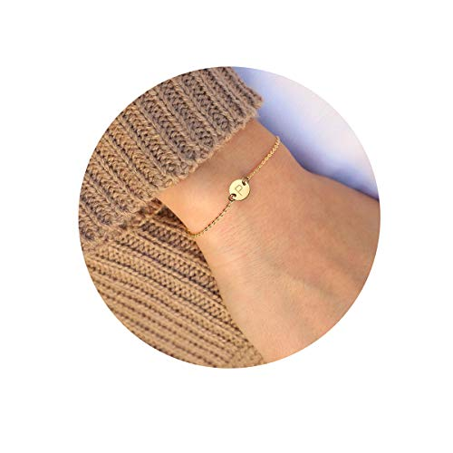 MOMOL Initial Charm Bracelets, 18K Gold Plated Stainless Steel Dainty Small Round Coin Disc Initial Bracelet Engraved Letter P Personalized Name Bracelet for Women Girls Kids (P) - Gold Girls Charm