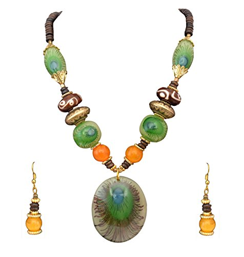 Diyofa Women's Ethnic Wear Peacock Feather Design And Necklace Set 5 X 5 X 5 multicolour