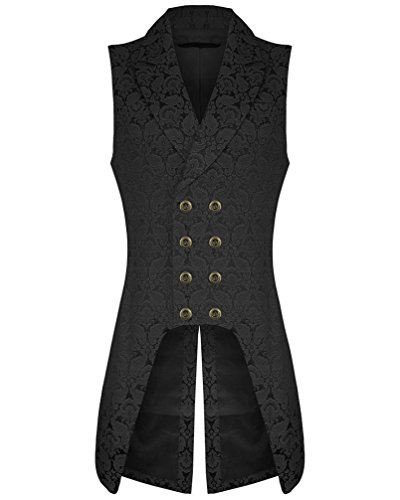 Mens-Double-Breasted-Governor-Vest-Waistcoat-VTG-Brocade-Gothic-Steampunk-Small-Brocade
