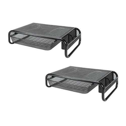 Lorell Computer Monitor Riser Desk Stand With Drawer and Side Organizer ,Printer Stand, Laptop Stand (LLR84148) (2 Pack) (Lorell Side Table)