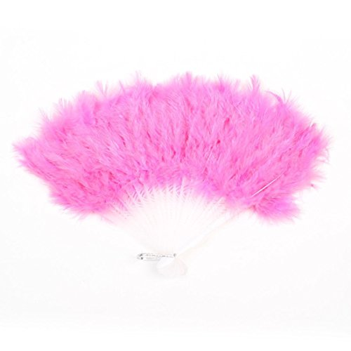ASX Design Dancing Party Feather Folding Hand Fan 16 Inch Width - Pink