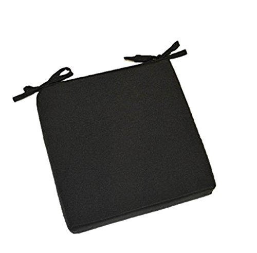 Resort Spa Home Decor Indoor Outdoor Solid Black Square Universal 3 Thick Foam Seat Cushion with Ties for Dining Patio Chair – Choose Size