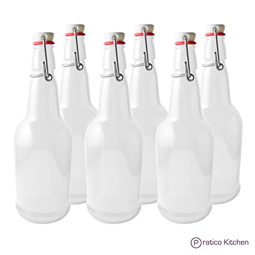 Secure Swing 16 oz Beer Bottles with Ceram-Seal Ceramic Cap for Fermentation & Carbonation of Beer, Soda, Kombucha - 6 Pack - Clear by Pratico Kitchen
