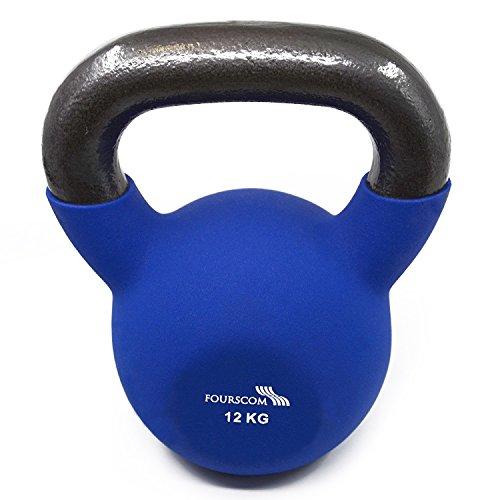 FOURSCOM® Kettlebells 12kg Blau Einsen mit Neoprene&Vinyl Kugelhantel Handgewicht Schwungkugel