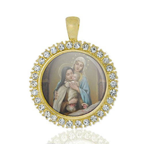Realig St Therese Of Lisieux Our Lady Baby Jesus Christian Round Medal Gold Tone Pendant with (St Therese Infant Jesus)